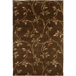 Hand-knotted Floral Tobacco Wool/ Art-silk Rug (2' x 3')