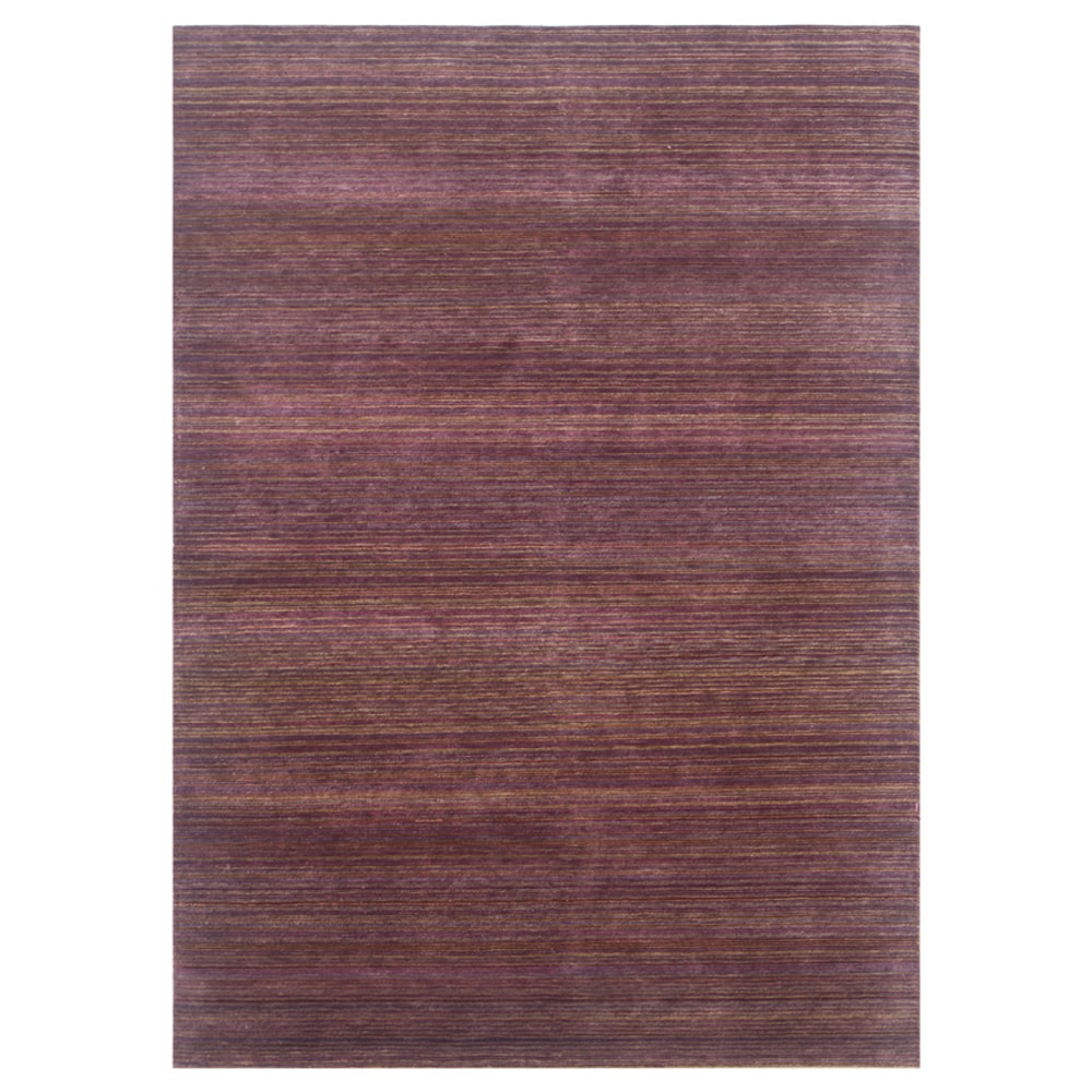 Hand-knotted Stripes Amethyst Wool/ Art-silk Rug (2' x 3')