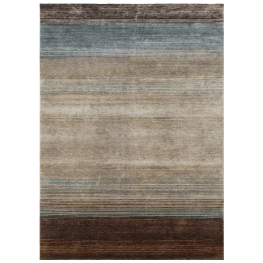 Hand-knotted Stripes Lead Gray Wool/ Art-silk Rug (8' x 11')