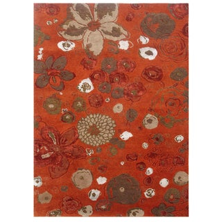 Hand-knotted Floral Red Orange Wool/ Art-silk Rug (2' x 3')