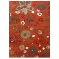 Hand-knotted Floral Red Orange Wool/ Art-silk Rug (3'6 x 5'6)