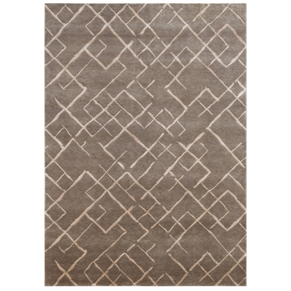 Hand-knotted Geometric Silver Gray Wool/ Art-silk Rug (5'6 x 8'6)