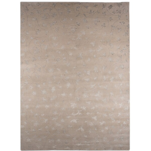 Hand-knotted Floral White Ice Wool/ Art-silk Rug (2' x 3')