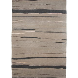 Hand-knotted Abstract Ashwood Wool/ Art-silk Rug (5'6 x 8'6)