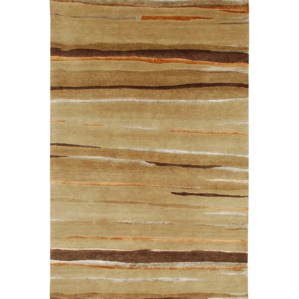 Hand-knotted Abstract Dark Sand Wool/ Art-silk Rug (8' x 11')