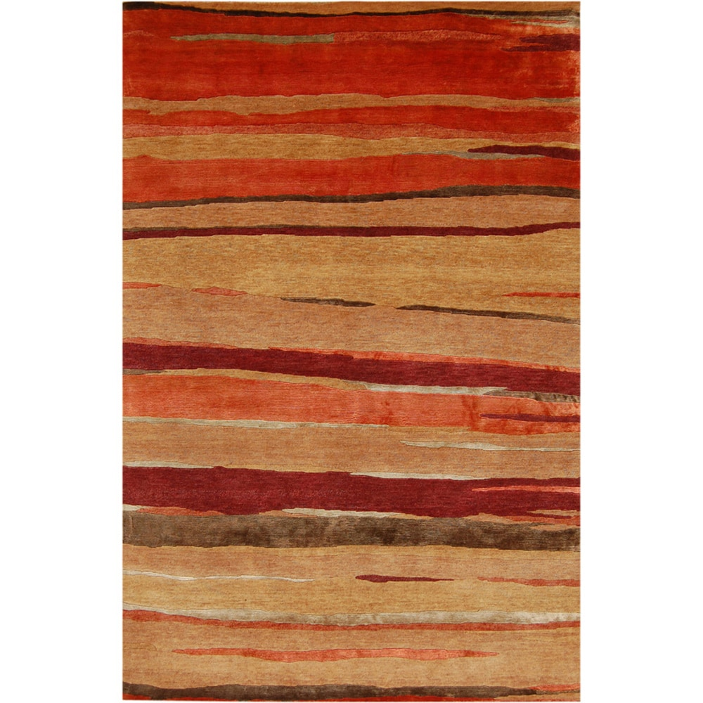 Hand-knotted Abstract Deep Rust Wool/ Art-silk Rug (5'6 x 8'6)