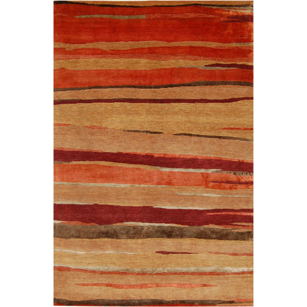 Hand-knotted Abstract Deep Rust Wool/ Art-silk Rug (9'6 x 13'6)