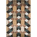 Hand-knotted Geometric Graphite Wool/ Art-silk Rug (3'6 x 5'6)
