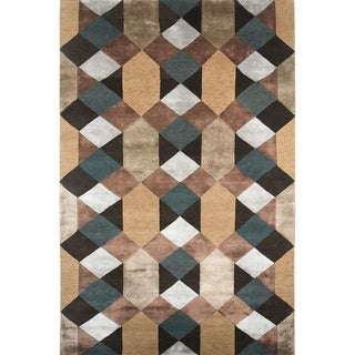 Hand-knotted Geometric Graphite Wool/ Art-silk Rug (9'6 x 13'6)
