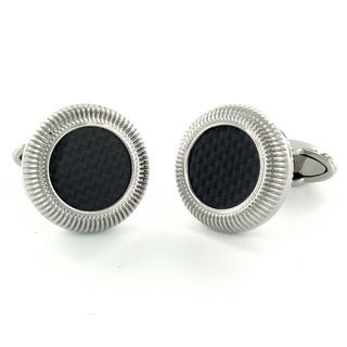 Steel Black Carbon Fiber Inlay Round Cuff Links