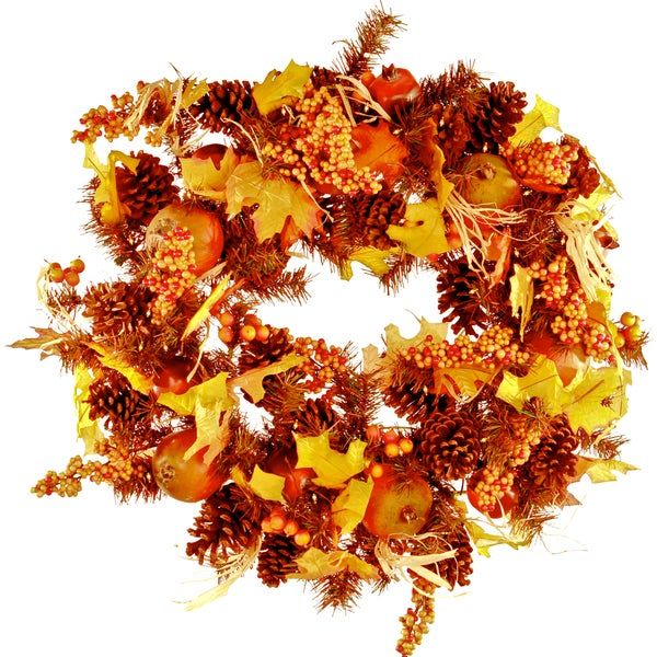 Pre-Lit Fall Wreath (24 Inch Diameter)