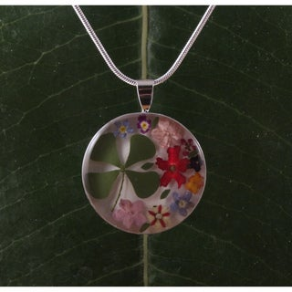 Four-leaf Clover and Flowers Necklace (Mexico)