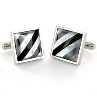 West Coast Jewelry Stainless Steel Shell and Onyx Inlay Cuff Links
