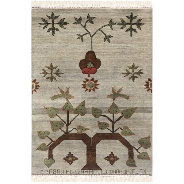 Transitional Hand-Knotted Oriental Mix Wool Rug (4' x 6')