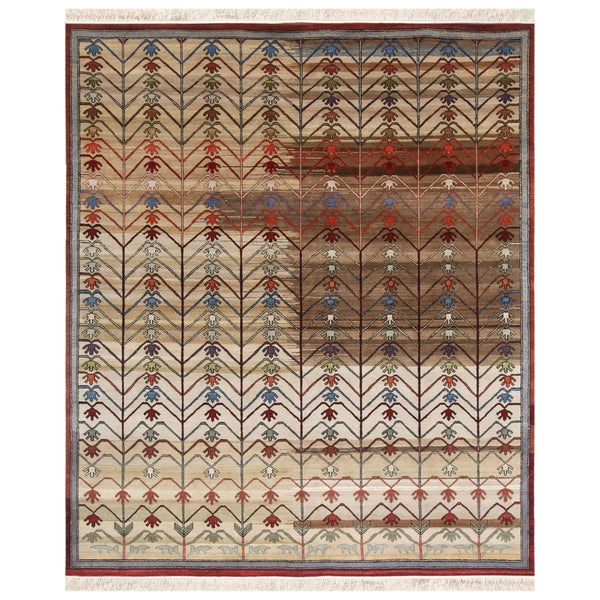 Hand-Knotted Abstract Contemporary Mix Wool Rug (8' x 10')