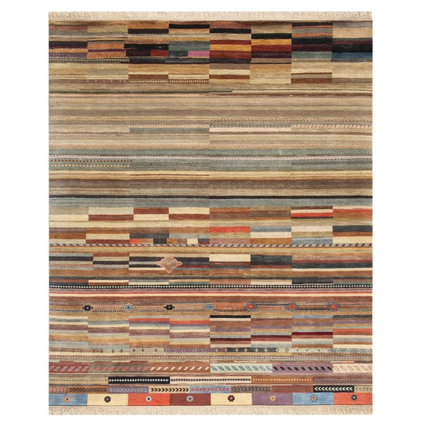 Hand-Knotted Abstract Mix Wool Area Rug (8' x 10')