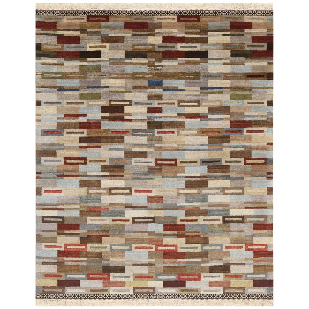 Hand-Knotted Contemporary Abstract Mix Wool Area Rug (8' x 10')