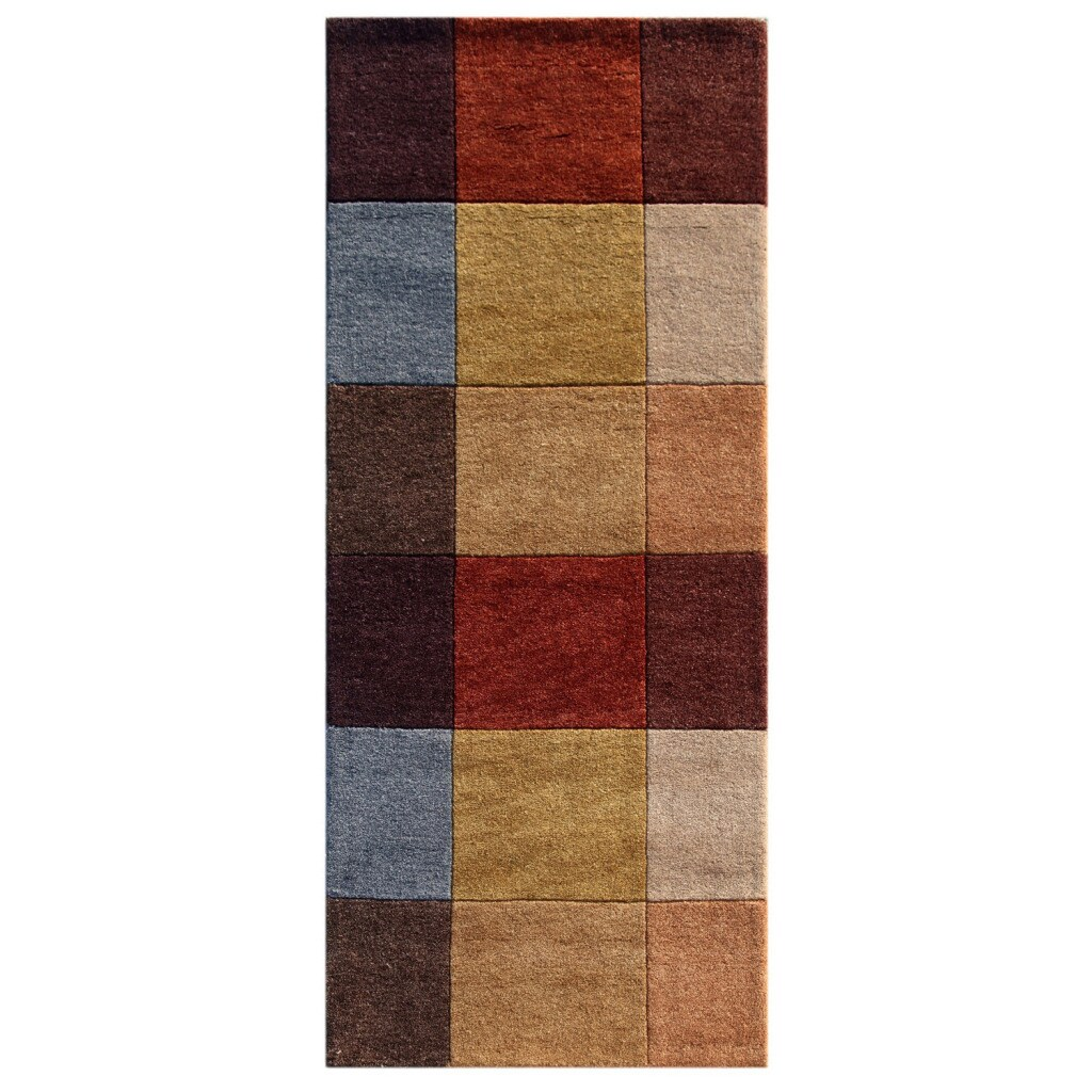 Hand-knotted Geometric Brick Red Wool Rug (2'9 x 9')