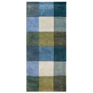 Hand-knotted Geometric Light Turquoise Wool Rug (2'8 x 6')