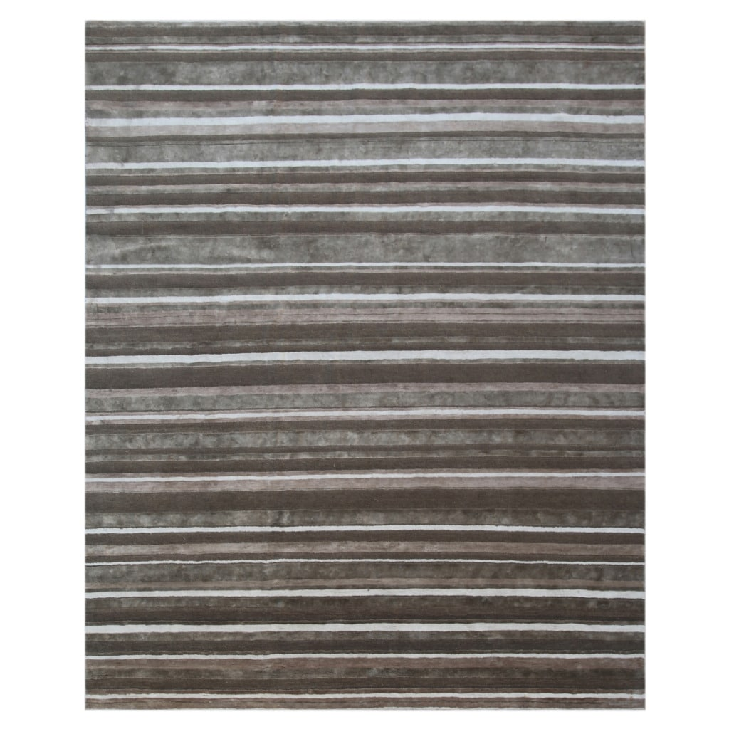 Hand-knotted Stripe Lead Gray Wool/ Bamboo-silk Rug (8' x 10')