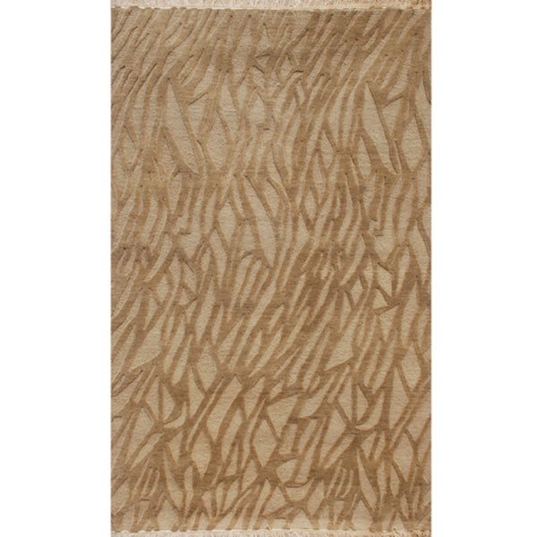 Hand-knotted Abstract Medium Brown Wool Rug (5' x 8')