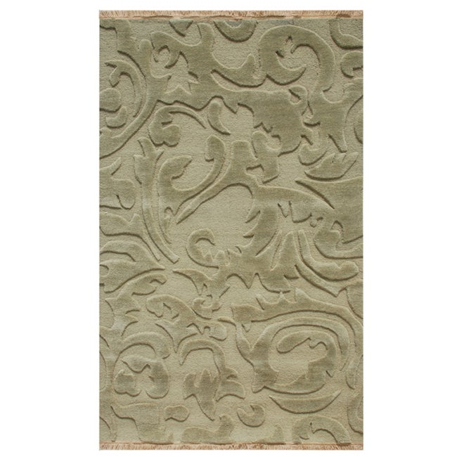 Hand-knotted Abstract Sea Green Wool Rug (5' x 8')