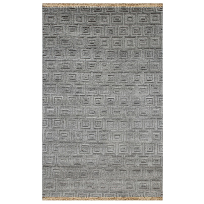 Hand-knotted Geometric Steel Wool Rug (5' x 8')