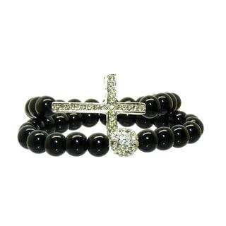 Pretty Little Style Silvertone Sideways Cross Glass Bead Bracelets