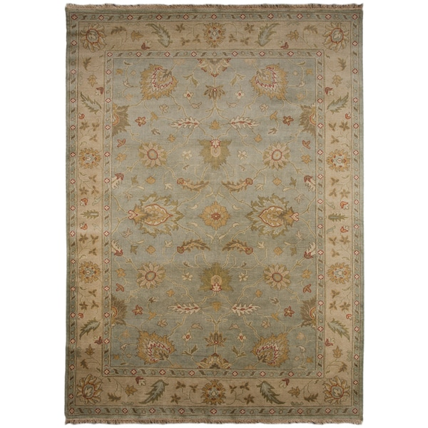 Hand-knotted Oriental Sea Blue Wool Rug (6'6 x 9'6)