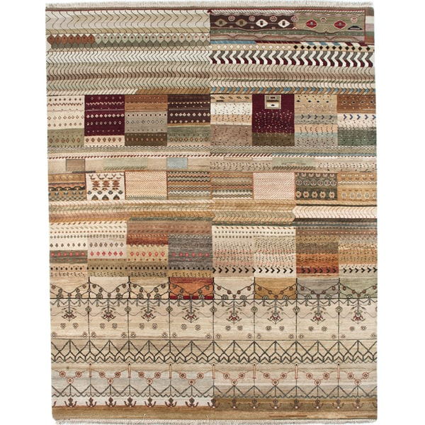 Transitional Hand-Knotted Abstract Mix Wool Area Rug (8' x 10')