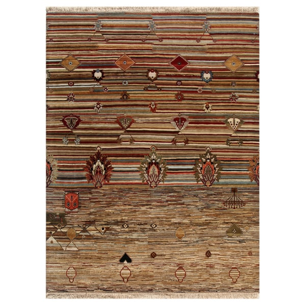 Hand-Knotted Transitional Abstract Mix Wool Area Rug (8' x 10')