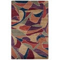 Hand-tufted Abstract Tulip Purple Wool Rug (3'6 x 5'6)
