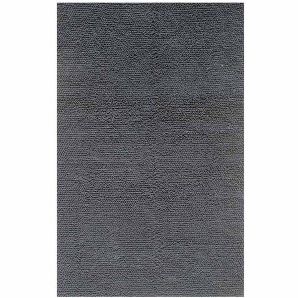 Hand-knotted Solid Ebony Wool Rug (5' x 8')