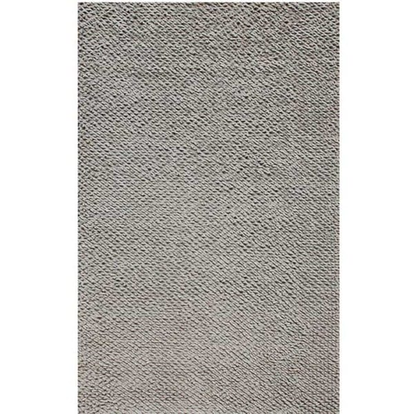 Hand-knotted Solid Silver Birch Wool Rug (5' x 8')