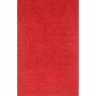 Hand-knotted Solid True Red Wool Rug (5' x 8')