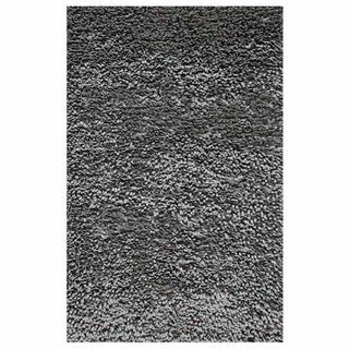 Hand-knotted Solid Light Silver Wool Rug (5' x 8')