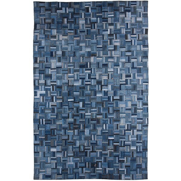 Hand-knotted Abstract Denim Blue Wool/ Art-silk Rug (5' x 8')