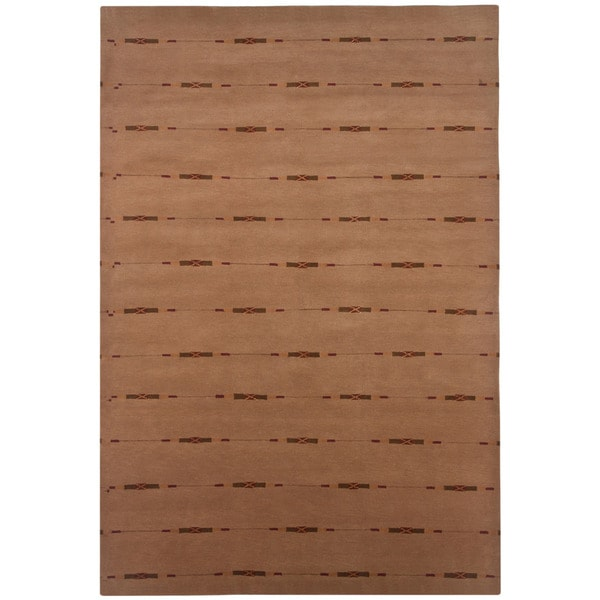 Indo-tibetan Stripe Sumac Wool/ Viscose Rug (5'6 x 8'6)