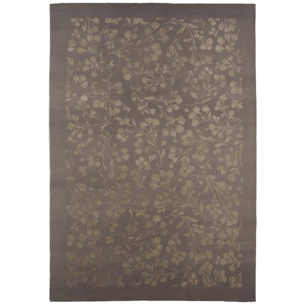 Indo-tibetan Floral Nickel Wool/ Silk Rug (6'5 x 9'8)