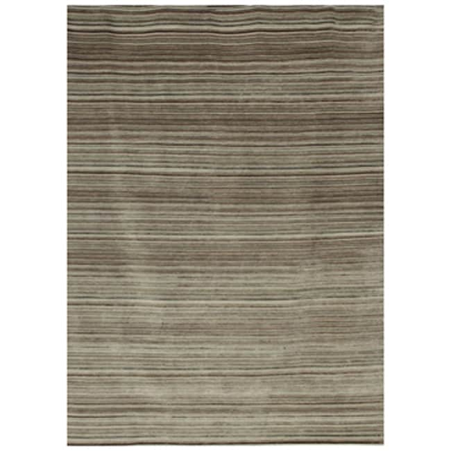 Indo-tibetan Stripe Gray Brown Wool Rug (5'6 x 8'6)