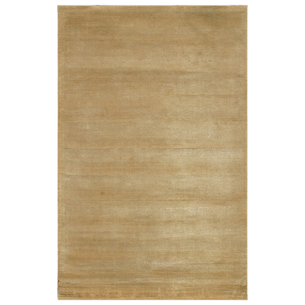Hand-tufted Solid Honey Yellow Wool/ Art-silk Rug (5' x 8')