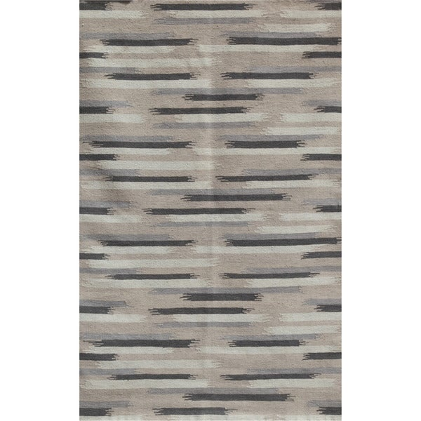 Flat-weave Abstract Ashwood Wool Rug (5' x 8')