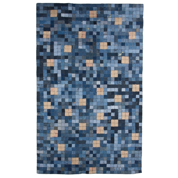 Hand-Knotted Abstract Denim Blue Indoor Wool Rug (5' x 8')