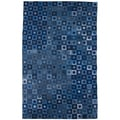 Rectangle Hand-Knotted Abstract Denim Blue Wool Rug (5' x 8')