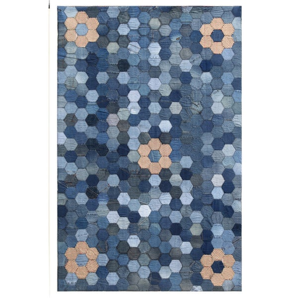 Hand-knotted Abstract Denim Blue Denim Rug (5' x 8')