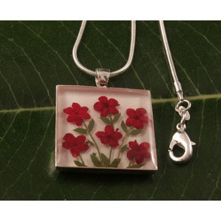 Burgundy Flowers Bouquet Necklace (Mexico)