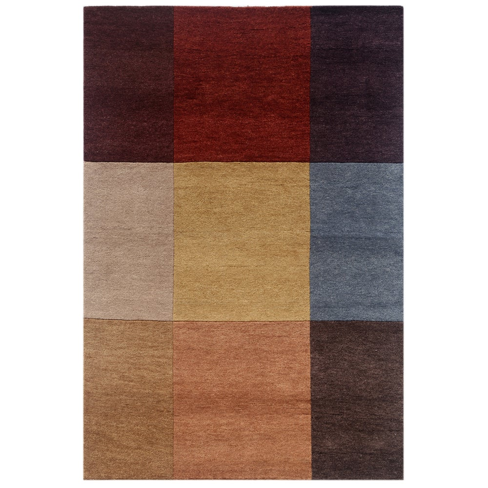 Hand-knotted Geometric Brick Red Wool Rug (5'3 x 7'7)