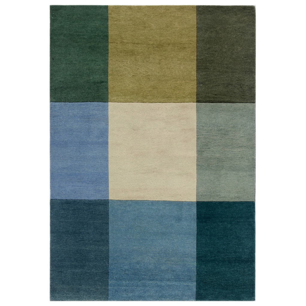 Hand-knotted Geometric Light Turquoise Wool Rug (5'6 x 7'6)