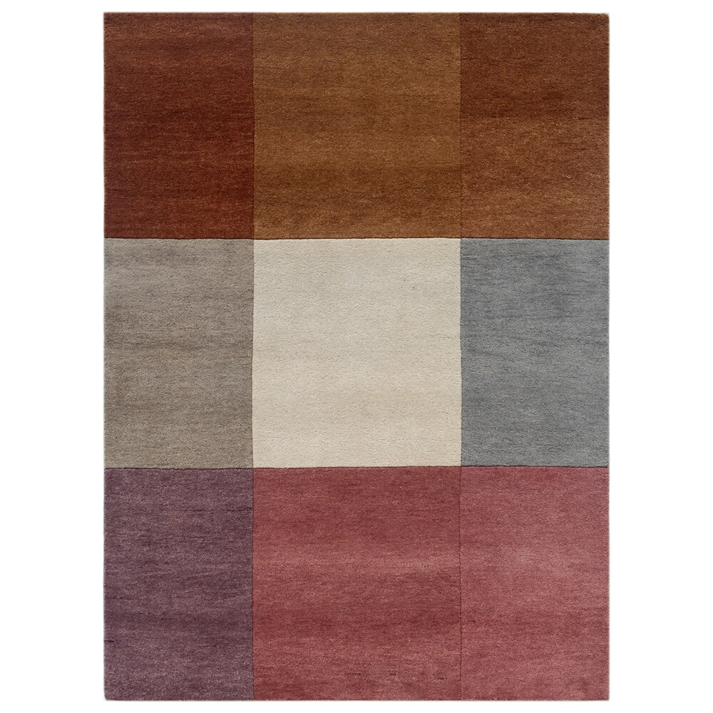 Hand-knotted Geometric Orange Berry Wool Rug (4'6 x 6'8)