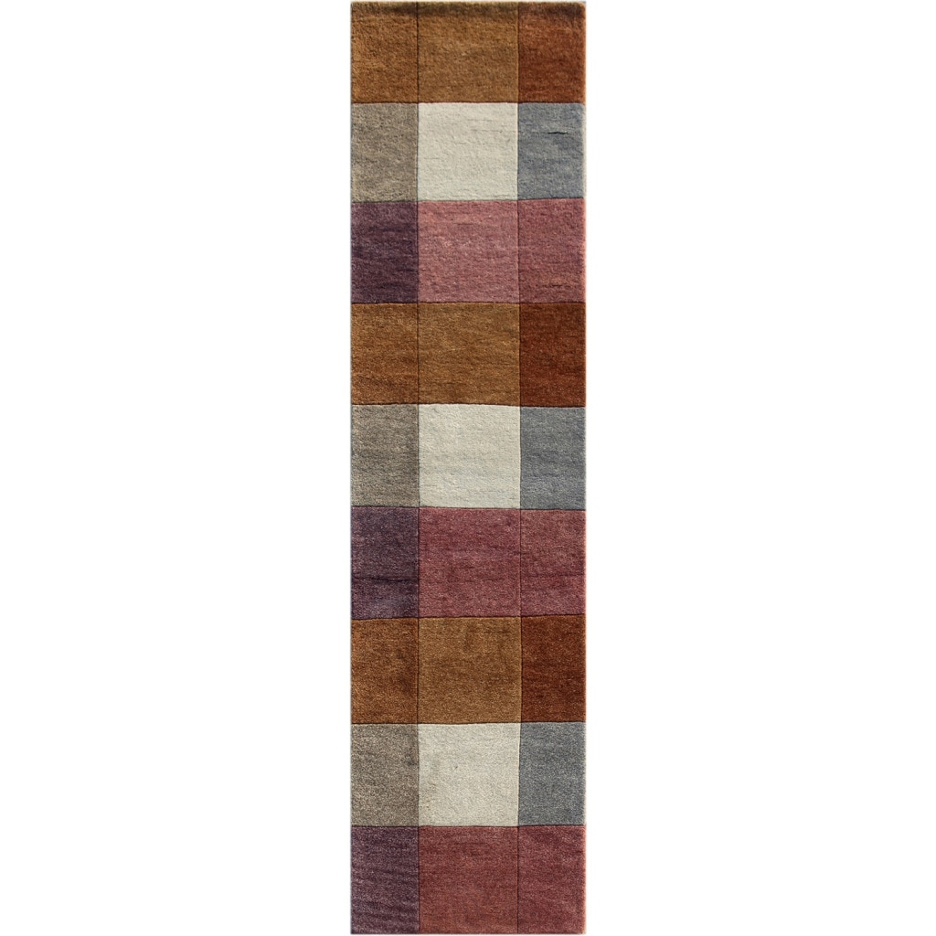 Hand-knotted Geometric Orange Berry Wool Rug (2'8 x 8'10)